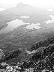Stac Pollaidh from Cùl Mòr (Francis Mansell) Tags: stacpollaidh cùlmòr lochandoiredhuibh lochsionascaig loch lake creagnancalman monochrome blackwhite niksilverefexpro2 scotland scottishhighlands highlands mountain coigach westerross crag cliff river stackpolly inverpolly