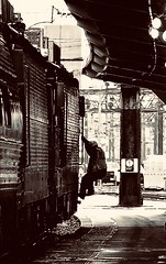 Detraining (Professor Bop) Tags: rails railroad railway man worker mono monochrome monochromatic olympusxz1 amtrak nec professorbop drjazz northeastcorridor mosca