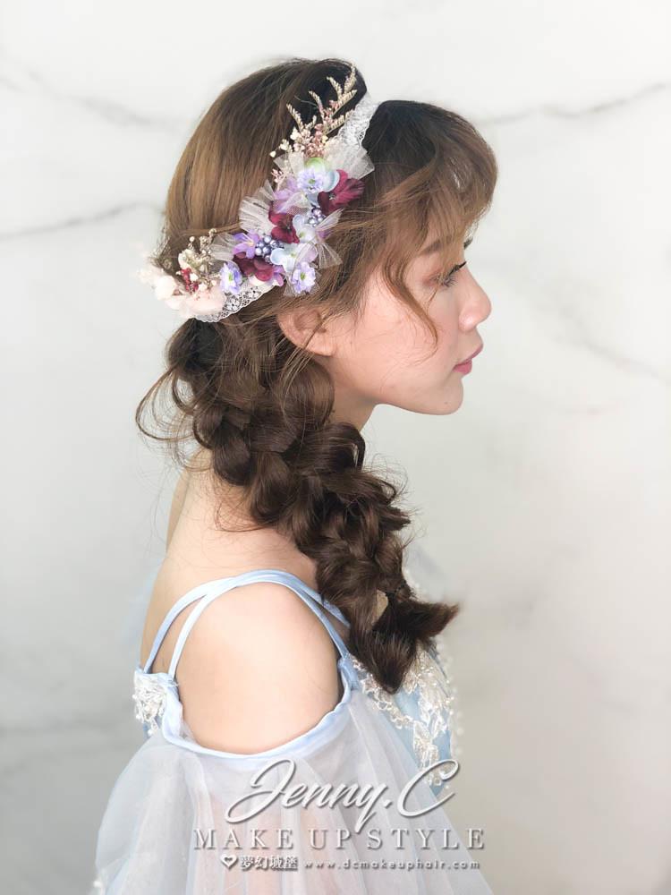 【新秘蓁妮】新娘造型創作 / 側編髮乾燥花造型