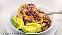 Sous vide chicken thigh fillet with cabbage (garydlum) Tags: avocado cabbage chicken canberra australiancapitalterritory australia