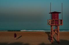 At beach... (hobbit68) Tags: holiday fujifilm xt2 beach playa sonne sky sonnenschein sommer spanien strand turm people sand at atlantik meer espana espagne espanol espania