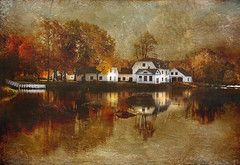 Mansion serie (Birgitta Sjostedt- thanks for 12 m views.) Tags: mansion water reflections house building ancient old autumn park texture paint painting