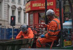 Men in Orange (OzzRod) Tags: pentax k1 hdpentaxdfa28105mmf3556 street workers phone orange paddington london