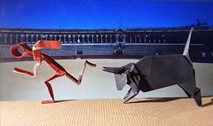 Bull by Noe Bahena, Tiny man by Alexander Kurth (Stefano Borroni (Stia)) Tags: origami origamipaper origamicdo origamilove origamiart piegarelacarta arte folding foldingpaper papiroflexia carta animali natura wwf toro bull torero corrida alexanderkurth noebahena cdoitalia