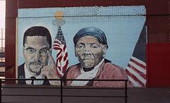 Malcolm X and Harriet Tubman Mural (neilsonabeel) Tags: nikonfm2 nikon nikkor film analogue malcolmx harriettubman mural streetart brooklyn newyorkcity