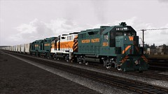 Train Simulator (Hungarykum) Tags: western pacific green silver livery with empty hoppers train simulator ts gp35 oroville