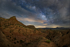 New Mexico badlands and the Pedernal under the Milky Way at Ghost Ranch (Mitch Tillison Photography) Tags: beautiful stunning gorgeous landscape starscape milkyway night sky badlands newmexico ghostranch longexposure pentax k3 cropsensor astrophotography mitchtillison smc da 1017 fisheye