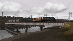 Train Simulator (Hungarykum) Tags: western pacific green silver livery with empty hoppers train simulator ts gp35