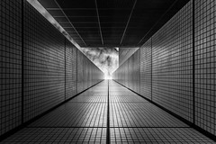 tunnel to sky (Blende1.8) Tags: rotterdam holland netherlands architecture graphical graphic architektur geometry geometrie abstract mono monochrome bw sky dark city modern modernarchitecture sel24105g