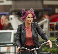 be nice (Henk Overbeeke Atelier54) Tags: girl street candid purple bike bicycle bicicletta fiets fahrrad vélo leather amsterdam