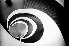 Spirale de Malley (zmi66 - ZMIphoto) Tags: raw black portrait romandsuisse romand art malley summilux1728mm people switzerland mathnl blanc automne blackandwhite noir light lhc suisse white prilly monochrome vaudoisearéna winter romandie show zmiphoto trip lausannehc leicaq lhcgs vaud lausanne escaliers stairs