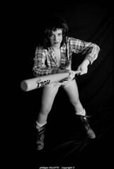 Laura en bad girl  n&b (villatte.philippe) Tags: laura bad girl nb ranger batte baseball studio flash short bat sexy tits boobs