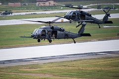 """Two HH-60s Squadron depart after dropping off pararescuemen during a combat search and rescue demonstration (#PACOM) Tags: osanab 51fw republicofkorea mustangs apd airshow community camaraderie usfk usindopacificcommand """"usindopacomosan air basesouth korea"""