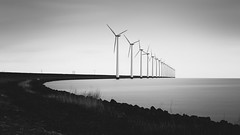 Wind energy (alowlandr) Tags: swifterbant flevoland netherlands turbine power wind windmill electricity energy technology green sky water windturbine sustainable environmental row ecological lake dike ijsselmeer horizon flevopolder lelystad
