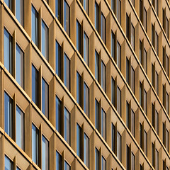 facade (morbs06) Tags: axelspringerhochhaus berlin abstract architecture building city cladding colour diagonal facade geometry gold highrise light lines pattern reflections repetition square stripes texture windows