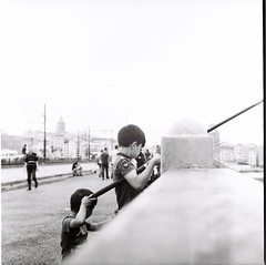 Fishing 1/2 (efeardic) Tags: yashica mat 124 g ilford 125 bnw black white street photography tlc fishing boy kid portrait sea