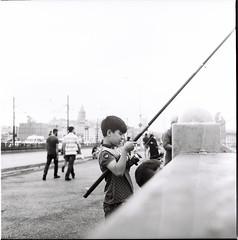 Fishing 2/2 (efeardic) Tags: yashica mat 124 g ilford 125 bnw black white street photography tlc fishing boy kid portrait sea