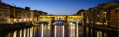 Ponte Pano (1 of 1) (selvagedavid38) Tags: pontevecchio bridge river arno pano panorama dawn bluehour firenze italy italia water city buildings architecure arches reflections canon