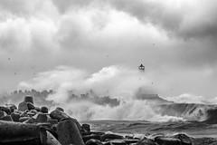 The ninth wave (JurisKa) Tags: ventspils vētra sea seascapes balticsea storm lighthouse blackwhite landscape beacon latvia