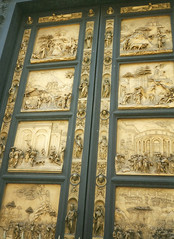 """""""The Gates of Paradise"""" Doors, Florence Baptistery, Tuscany (alexdavidwriter) Tags: florence firenze tuscany toscana italy italia baptistery doors gates gilded bronze carving basrelief sculpture gold art renaissance oldtestament christianity building ghiberti"""