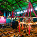 Inside of the tent of Oktoberfest with a huge Chandelier full of flowers