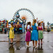 Young ladies dressed in national colorful dresses for Oktoberfest