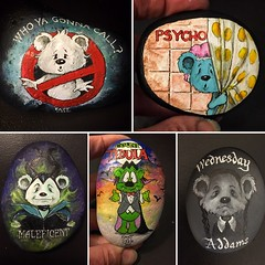 Little Ted does Halloween. Getting ready for Halloween with Little Ted painted rocks. All will carry the ActFAST message how to spot signs of stroke. (Andreadm66) Tags: hobby calderdalerocks addamsfamily maleficent horrorfilms psycho halloween rockart paintedpebbles art