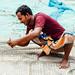 Man Repairing Fishing Net, Chittagong Bangladesh