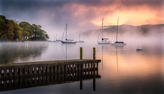Morning Fire (Nicks-2017) Tags: windermere lake district sunrise dawn serene serenity calm peaceful boat water reflection cumbria lakes mast mist nationaltrust nationalpark 6dmkii