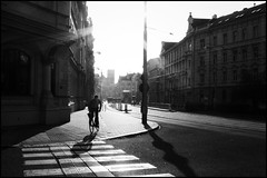 A man on the bicycle on his way to work. (Starej Grafik) Tags: bwphotography bw powershot canon towork sun street backlight bicycle morning