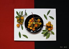Botanical Illustration (Esther Spektor - Thanks for 16+millions views..) Tags: stilllife naturemorte bodegon naturezamorta stilleben naturamorta composition creativephotography illustration art botanical contemporary plant berry leaf cluster board plate ceramics ambientlight white red grteen yellow orange black estherspektor canon