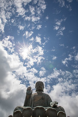 High Five, Big Buddha, Hong Kong (Geraint Rowland Photography) Tags: statue religion peace hongkong hk hongkongtourism verticalimage portraitofbuddha bigbuddha buddhahongkong blue sky wideangle flare sunshine iconic lookingup geraintrowlandphotography canon wanderlusttravelmagazine wwwgeraintrowlandcouk wanderlust exploring travel adventure travelimage sundaytimestravel natgeouk ngtuk nationalgeographictravel