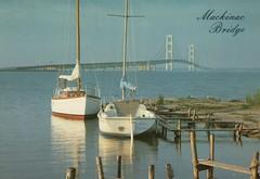 Mackinac Bridge (Liz Pidgeon) Tags: mackinacisland postcard bridge sailboat dequaine