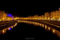 LUNGARNI NOTTE di Pisa - LUNGARNI NIGHT of Pisa (Eugenio GV Costa) Tags: approvato lungarno pisa fiume arno toscana acqua water river streets outside notte night
