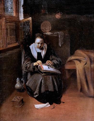 IMG_0608G Nicolas Maes. 1634-1693.  La Dentellière.  Paris Petit Palais (Musée des Beaux Arts de la Ville de Paris) Elève de  Rembrandt. Student of Rembrandt.