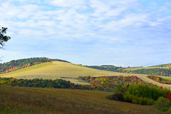 autumn colors (Slávka K) Tags: sky clouds nopeople coutry landscape fields trees colors autumn blue moretrees hills view grass countyside nature october nikond5200