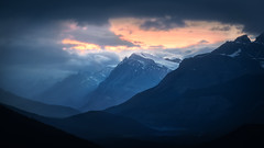 Standing Out and Fading Away (andrewpmorse) Tags: banff banffnationalpark alberta canada rockymountains mountains landscape landscapes bluehour clouds rain moody telephotolandscape canon canon5dmarkiv 5dmarkiv 5div 70200mmf28lii