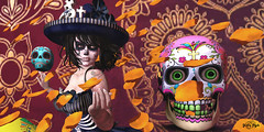 #119 - Dia de Muertos (Yvain Vayandar) Tags: tliallithefairaroundtheworld fair secondlife sl world mexico diademuertos party cempasuchil flower makeup lessucreriesdefairy lulub {speakeasy} argrace lepoppycock thebeardedguy boudoir