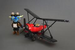 Baron von Sprokitt (Djokson) Tags: gremlin pilot goblin goggles jacket biplane warplane red baron figure character blue airplane djokson lego moc model toy