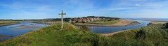 Alnmouth Panorama from Church Hill (WISEBUYS21) Tags: alnmouth estuary riveraln northumberland northumbria scottishborder borders northeast england church hill cross golf course oldest boat boats hotel pub winding blue sky outgoing tide sea coast coastal northsea sand bay seaside hut percy wisebuys21 family beach village community religious ferryman boathouse john brown onecenturyold 1950's 1960's 2d 3d 1pence 3pence ferryman'shut museum wideangle panorama vista