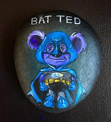 Little Bat Ted's winging his way to be hidden somewhere in Chicago. (Andreadm66) Tags: usa chicago art america superhero batman rockart paintedrock littleted pebblepainting strokeawareness