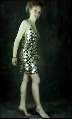 marie en  robe paco rabanne (villatte.philippe) Tags: marie robe paco rabanne mode metal pied nu studio flash dia fuji 100 metalique sexy dress metalic