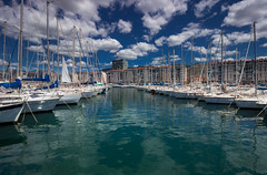 Quayside cloudscape (snowyturner) Tags: clouds cumulus boats yachts landscape reflections harbour marina quay masts