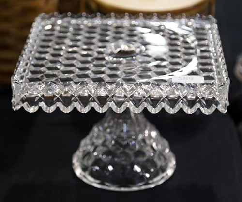 Fostoria American crystal square cake stand with brandy well ($72.80)