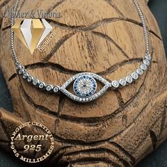 Bracelet chaîne en argent 925 avec oeil mosaïque (olivier_victoria) Tags: argent 925 zircon bleu bracelet chaine brillant mosaique orient oeil