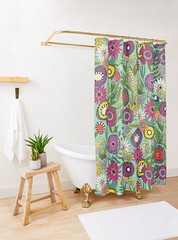 joie floral mint redbubble shower curtain (Scrummy Things) Tags: sharonturner scrummy floral flowers joie joiefloral illustration drawing pattern garden redbubble showercurtain bathroom decor minr home