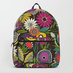 joie floral espresso society6 backpack (Scrummy Things) Tags: sharonturner scrummy floral flowers joie joiefloral illustration drawing pattern garden soc6 society6 backpack bag espresso brown