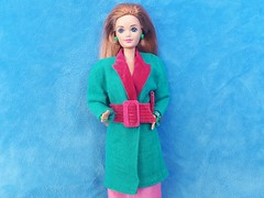 "Barbie Day-To-Night ""Business Executive"" #9083 from 1984 (VintageZealot) Tags: barbie mattel wedding day midge 9606 9852 1990 1990s 90s to night daytonight business executive 9083 1984 1980s 80s vintage retro fashion doll clothing clothes outfit model modelling malaysia caucasian auburn titian red head diva jewel secrets jewelry emerald collection 1924 1986 dress skirt top blouse off shoulder pink green silver sparkly shiny satin pumps belt coat blazer jacket overcoat suit peak lapels teal clutch purse handbag hand bag earrings ring bracelet gold metal snaps"