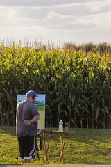 Drive by art (jkotrub) Tags: art color corn paint person road street fall autumn golden goldenhour afternoon alone painting work makegoodart diy farm outdoors outside crops green sky clouds grey light grow