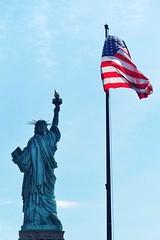 Liberty Statue + Stars and Stripes (dirklie65) Tags: usa flag american fahne starsandstripes libertyisland libertystatue amerikanische detail newjersey